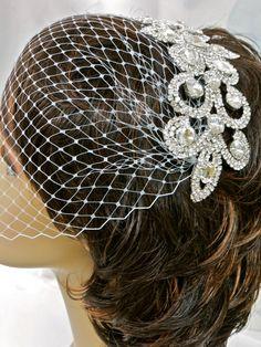 Bridal Birdcage Veil Wedding Veil Bandeau Veil by ctroum on Etsy, $69.00