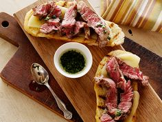 Mini Open Faced Steak Sandwiches on Garlic Bread with Aged Provolone and Parsley Oil - from Bobby Flay