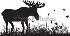 Силуэт травы и олень — стоковая иллюстрация #74192267
