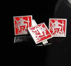 RED Devil Cufflinks Tie clip silver SWANK by NeatstuffAntiques