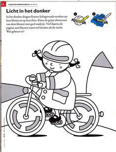 Met fluoverf of fluovetkrijt Co Teaching, Transportation, Kindergarten, Preschool, Bicycle, Comics, Kids, Crafts, Made By Hands
