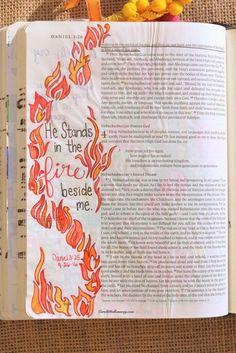 Daniel 3:25, September 26, 2016 Carol@Belleauway.com Watercolor, Illustrated Faith Pen, Bible Art Journaling, Journaling Bible, Illustrated Faith