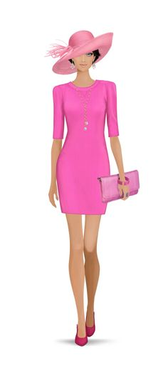 Plain, almost Barbie pink, tight fitted dress with three quarter length sleeves with matching clutch