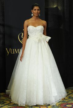 """Brides: Yumi Katsura - Spring 2013. """"Nou"""" strapless lace and tulle ball gown wedding dress with a beaded sweetheart bodice and silk organza floral sash, Yumi Katsura"""