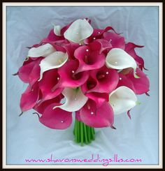 Flowers, Pink, White, Bouquet, Wedding, Calla, Lilies, Crystals, Cream, Natural, Shavons wedding silks, Bling, Touch, Fuchsia, Floramatique