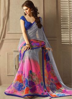 Eye-Catching Grey and Hot Pink Fancy Printed Saree