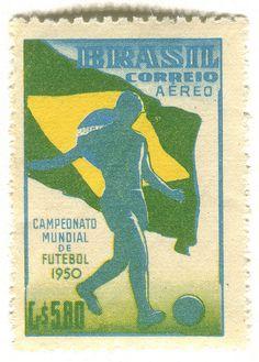 1950 World Cup in Brazil, designed by Bernardino Lanzetta Marino Pinheiro 1950 World Cup, Living In Brazil, Commemorative Stamps, Vintage Stamps, Communication Design, Blog Design, Fifa World Cup, Vintage Posters, Ephemera