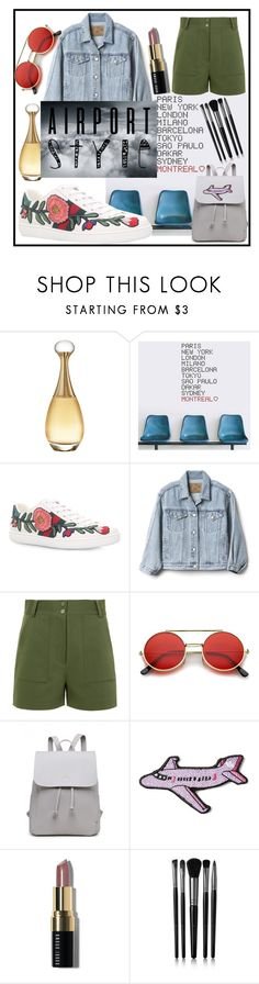 """""""Airport style"""" by veronica-beckran ❤ liked on Polyvore featuring Christian Dior, ADZif, Gucci, Gap, TIBI, Stoney Clover Lane, Bobbi Brown Cosmetics and Illamasqua"""