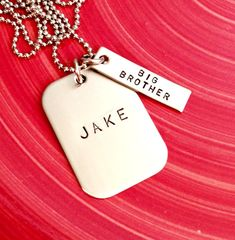 Big Brother Personalized Dog Tag - Hand Stamped Necklace- Custom Jewelry for Him - Wedding Anniversary Necklace - Groomsmen Gift