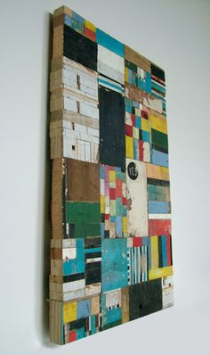 """painted wood block """"quilt"""" by artist Richard Pearse"""