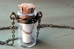Message In A Bottle Necklace Wire Wrapped Secret Message Necklace..