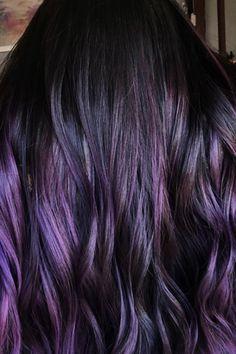 Dark Purple Hair Color, Ombre Hair Color, Hair Color Balayage, Blonde Color, Hair Colors, Purple Wig, Purple Colors, Deep Purple, Color Black
