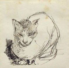 Obviously Jacobus van Looy was a cat lover. He has captured his cats in contemplative solitary poses. His painting Dead Cat does not reflect complete Art Du Croquis, Cat Sketch, Curious Cat, Cat Drawing, Illustrations, Animal Drawings, Cat Art, Pet Birds, Les Oeuvres