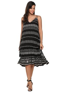 Black Women Casual V-Neck Double Spaghetti Strap Multi Layers Loose Dress