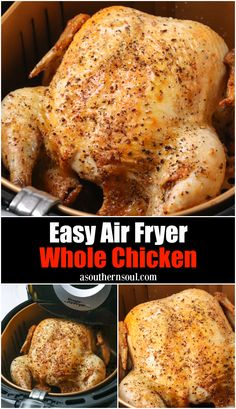 4 Points About Vintage And Standard Elizabethan Cooking Recipes! This Air Fryer Whole Chicken Is So Easy To Make Its Tender And Juicy On The Inside With Crispy Skin Thats Irresistible. With Just 5 Minutes Of Prep Time And About An Hour Of Cooking, You Can Fryer Chicken Recipes, Air Fryer Recipes Low Carb, Air Fryer Dinner Recipes, Lunch Recipes, Cooking Recipes, Healthy Recipes, Cooking Tips, Ninja Recipes, Atkins Recipes