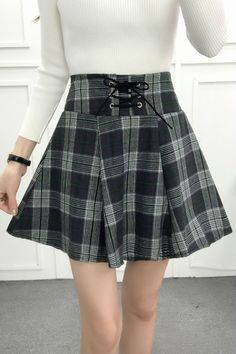 Plaid Tartan High Waist Skirt