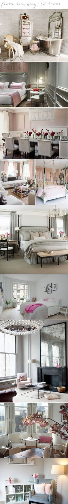From Runway to Room. Grey, silvers & pinks meet up in these pretty rooms. #laylagrayce #popsofpink #design