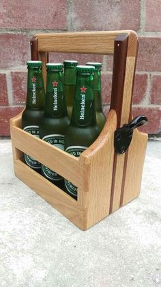 Beer caddy made in oak and mahogany