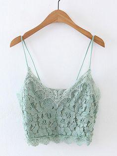 Lace Crop Cami Top GREEN