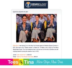 Denimology.com LOVES Our Micro Stripe Maxi Dress... featuring Olivia Munn & (of course) a great denim jacket too! Slip on some great boots and you are set for a fab fall outfit! Dressing has never been so easy!