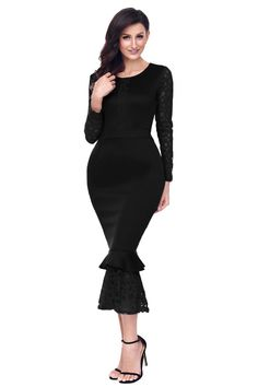 Ready to ship: Chicloth Black Ho.... http://chicloth.com/products/chicloth-black-hollow-out-long-sleeve-lace-ruffle-bodycon-midi-dress?utm_campaign=social_autopilot&utm_source=pin&utm_medium=pin