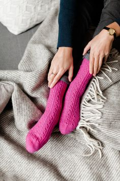 This design is one of the 7 modern, minimalist sock patterns tailored to all natural sock yarns from SOCKS Nylons, Sock Yarn, Knitting Socks, Leg Warmers, Fingerless Gloves, Hot Pink, Knitting Patterns, Pairs, Wool