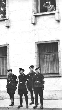 In this early picture (1934) members of The Leibstandarte -- Hitler's Praetorians -- stand guard as the Fuehrer salutes the throng from a window. These bodyguards didn't just protect they also went on the offensive. During the war, they fought as front line Waffen SS troops and became famous (or infamous) for their fierceness and ruthless combat action.