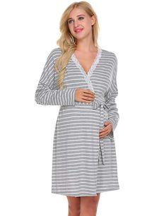 Ekouaer Womens Pregnant Breastfeeding Robe Labor Delivery Maternity Nursing  Nightgowns (XXL 102c17c94