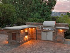 Capri Bbq Island With Lighting | Outdoor kitchen ... on Backyard Patio Grill Island id=30671