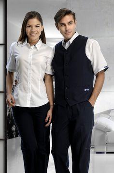 Uniforme de 3 piezas para hombre y 2 para mujer en colores azul marino y blanco. Uniforme corporativo de dos piezas con pantalón  azul marino y camisa blanca de manga corta. http://www.creacionesred.com.mx/