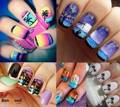 Love it! Tropical nails art. Get ready for summer:)