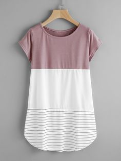 Contrast Panel Lace Applique Striped Tee -SheIn(Sheinside)