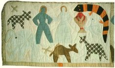 Adam & Eve Naming the Animals, Panel 1 (of 11), Harriet Powers' 1st Story-Bible Quilt