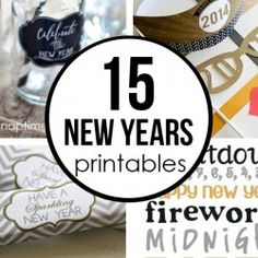 15 FREE New Years printables - lots of great ideas here. New Year Printables, Printable Labels, Party Printables, Free Printables, Family Planner, New Year Photos, New Years Decorations, Free News, New Year Celebration