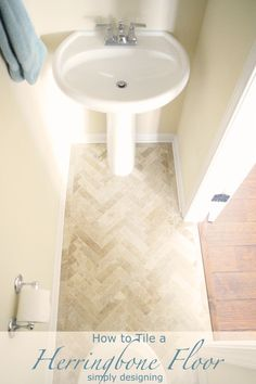Herringbone Tile Floors - travertine from The Tile Shop: Bucak Light Walnut 2 x 8 in at $9.99/ft2