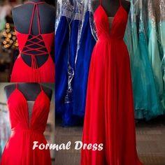 Sexy Red V-neck Lace-up Chiffon Senior Prom Dress,Formal Dress