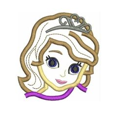 Instant Download - Disney Princess Sofia the First Head 4x4 Machine Embroidery Applique Design available in Hus Pes Jef formats on Etsy, $2.50