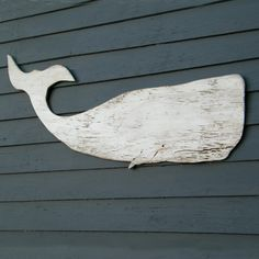 Whale White Moby Dick Supersized Whale Wood Art by SlippinSouthern, $98.00