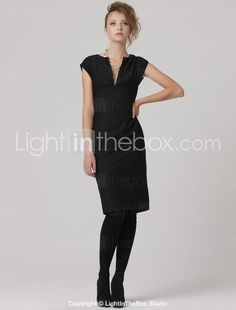 V-Neck Slit Sheath Dress