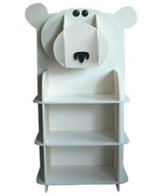 Polar Bear Bookcase, Approximately 1m High, Eco Friendly Paint And FSC  Certified Plywood