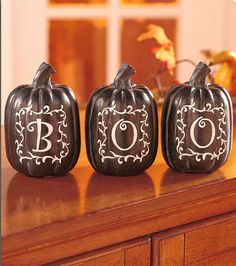Ceramic Pumpkins-Trio of Halloween Thanksgiving Home Decor-Centerpiece Ideas