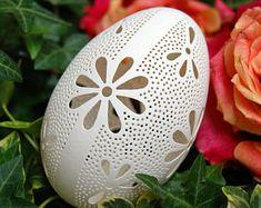 Eggshell of Polish goose - handmade sculpted #93 - transparent easter carved egg ornament decoration unique gift pysanka ażurowa pisanka