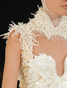 exander mcqueen s/s 2012 rtw, detail on hanne gaby odiele at paris fashion week