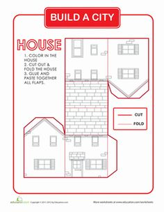 Need to get away from all the electronics? Looking for some good indoor fun on a rainy day? These worksheets provide a fun project you and your child can 3d Templates, Printable Templates, Free Printable, House Template, Paper Towns, Rainy Day Activities, Glitter Houses, Paper Houses, Fun Projects