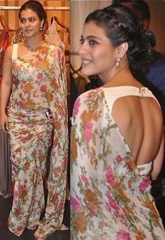 Kajol beautiful with open back choli blouse, floral saree and braided hair, via Bollywood Celebrities, Bollywood Fashion, Bollywood Style, Indian Attire, Indian Wear, Indian Dresses, Indian Outfits, Look Fashion, Indian Fashion