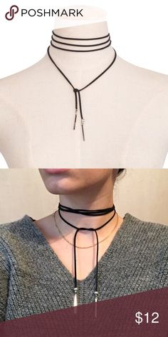💟Black Long Tie Choker💟 Adorable black long tie choker, kind of do it yourself whatever style you want, with cute silver tips. Brand new. Jewelry Necklaces