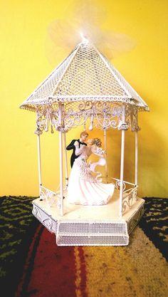 Vintage Wedding Cake Topper  Bride and Groom in Gazebo