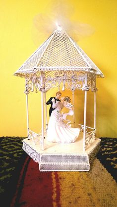 Vintage Wedding Cake Topper Bride and Groom in Gazebo