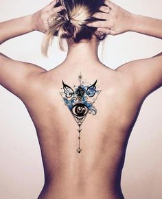 Watercolor Arrow Back Tattoo Ideas for Women - Black Henna Tribal Blue Angel Wings Evil Eye Tattoos at MyBodiArt.com #tattooart
