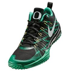 Nike Oregon Ducks Metallic Silver/Kelly/Yellow Strike/Black Lunar TR1 Shoe